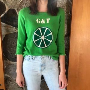 Kate Spade || G & T Green Cashmere Summer Sweater